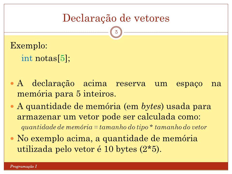 Declaração de vetores Exemplo: int notas[5];
